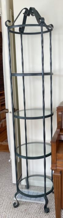 "$50.00..................Iron and Glass shelf 72"" tall (B030)"