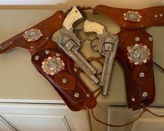 $60.00....................Vintage Cowboy Cap Guns & Holster (B051)