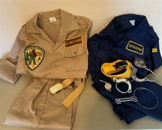 $50.00......................Vintage Jr Forest Ranger and Jr Policeman Costumes like new! (B073)