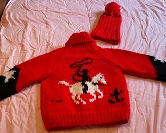 $30.00................Vintage Hand Knit Baby Western Sweater and Hat (B086)