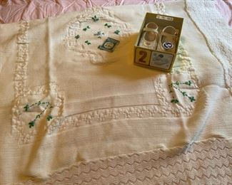 $20.00.............................Vintage Baby Blanket & Shoes (B084)