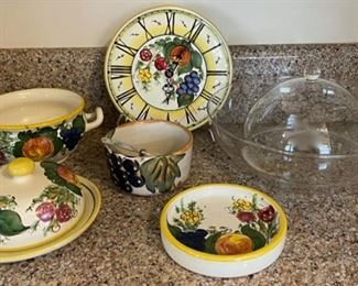 $14.00........................Pottery & Clock marked Hand Made/Painted Italy (B134)