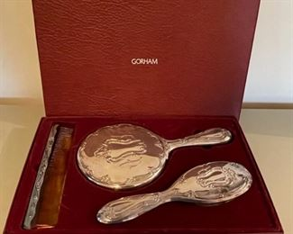 $30.00...................Silver-plate Gorham Mirror, Comb and Brush Set with original box (B164)