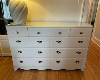 "$45.00....................White Dresser with glass top 52 1/2"" x 15"", 34"" tall (B167)"