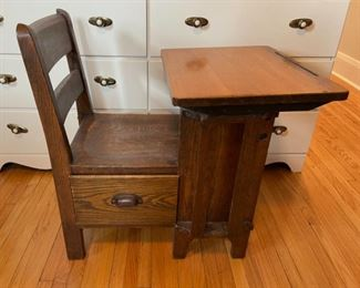 $150.00.....................Antique Childs Oak School Desk with Drawer (B172)