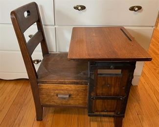 $150.00.....................Antique Childs Oak School Desk with Drawer (B173)