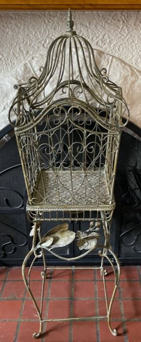 "$40.00................Large Ornamental Cage with Stand 49"" tall top lifts up and cage sits on stand and is removable (B199)"