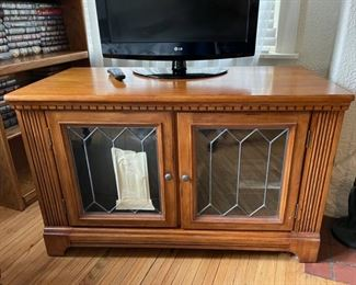 "$50.00.....................Leaded Glass Console Cabinet, as is as you see from picture some glass needs repair 46"" x 23"", 29"" tall (B258)"