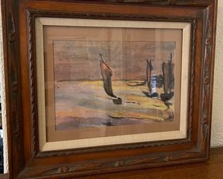 "$200.00....................Ships Watercolor signed Nolde  25 1/2"" x 21 1/2"" (B357)"