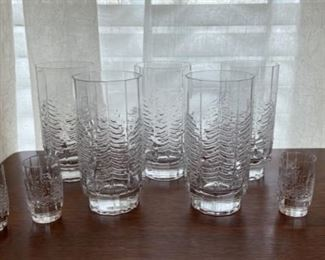 "$125.00..................Iittala Kuusi Spruce Tree Finish Glassware, 5 Glasses heavy base,  5 1/2"" tall 4 shot glasses 2 1/2"" tall (B344)"