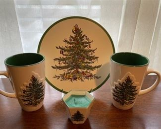 $16.00...................Spode Christmas Tree Large Mugs, Candle and Platter (B337)