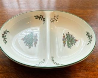 "$16.00.................Spode Christmas Tree Divided Dish 11 1/2"" (B335)"