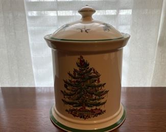 "$30.00.................Spode Christmas Tree Cookie Jar 9 1/2"" tall (B327)"