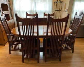 "$4,000.00.......................Amish Made Table and 6 Chairs, 71"" x 48"" not incl. leaves, 3 leaves at 11 3/4"" each, mint condition   (B322)"