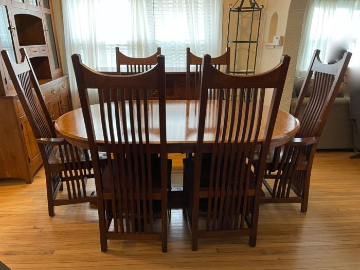 """$4,000.00.......................Amish Made Table and 6 Chairs, 71"""" x 48"""" not incl. leaves, 3 leaves at 11 3/4"""" each, mint condition   (B322)"""
