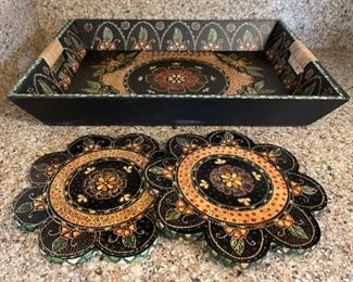 "$12.00...................Tray 18"" x 13"" and 2 8"" trivets (B313)"