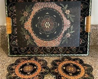 "$12.00....................Tray 18"" x 13"" and 2 8"" trivets (B316)"