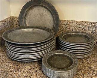 """$100.00........................Wilton Pewter Plates 10 @ 10"""", 9 @ 7"""", 8 @ 6"""" (B296)"""