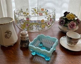 $16.00....................Vintage Glassware, Flowers as is (B286)