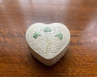 "$20.00...................Belleek Heart Box  3 1/2"" diameter (B279)"