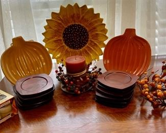 $12.00..................Fall Decor lot with wood coasters (B277)