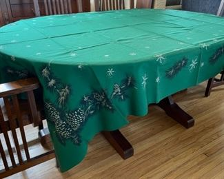 "$20.00.................Vat Dyed California Hand Prints Tablecloth with pinecones  90"" x 62"" (B398)"