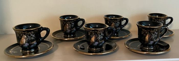 $20.00....................6 Demi Cups & Saucers, marked hand made in Rhodes by Kinoys in 24 k gold trim (B392)