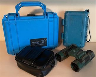 $60.00.......................2 Pelican waterproof boxes & Bushnell Binoculars 8 x 21 (B425)