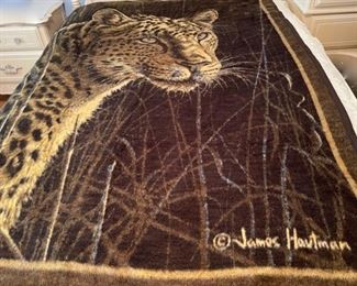 $50.00...................Vintage Biederlack Blanket  Leopard Throw by James Hautman (B456)