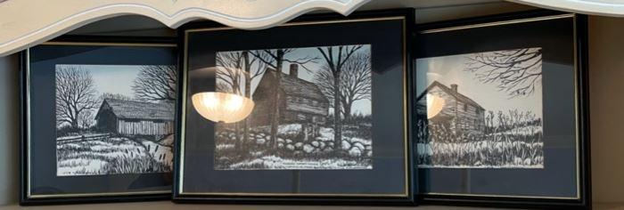 "$30.00....................3 Pictures: Parson Capen House Topsfield, Mass , Menominee River Parkway , 17"" x 13"" M. Miller Bernd (B505)"