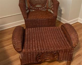 $100.00...................Wicker Chair and Ottoman (B510)