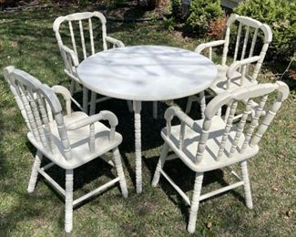 "$60.00...................Childs Table and 4 Chairs set , size: 27 1/2"" diameter, 21"" tall (B525)"
