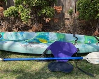 "$250.00................Makai Islander Kayak 117"" long,  Perception Paddle (B537)"
