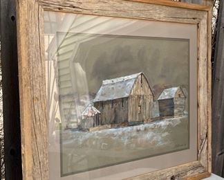 "$80.00......................Primitive Barn Picture, chalk, Signed L Veeder '74       35 1/2"" x 30"" (B605)"
