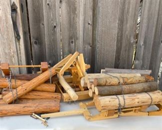 $10.00.....................Vintage toy lumber log carts (B611)