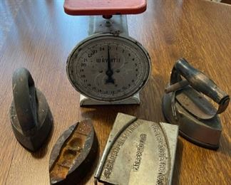 $20.00...................Vintage Kitchen Scale and Irons (B689)