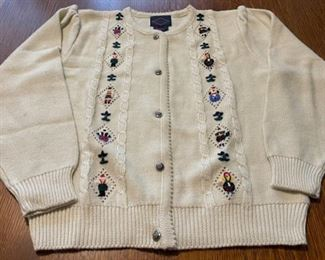 $16.00...................Kelsy Embroidered Sweater Size Large part wool (B753)