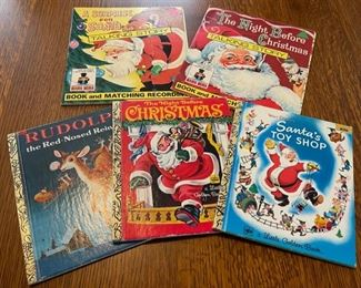 $14.00..................Vintage Christmas Books and 2 Record Books (B847)