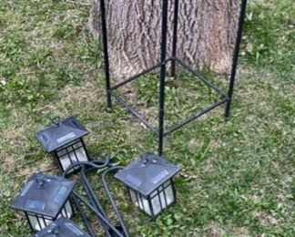 $16.00................Plant Stand and 4 Solar Lamps with hangers (B832)