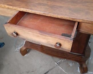 Added photo :  Foyer console table.  42w x 26d x 30h this would be suitable as a desk.  See previous photo for price.