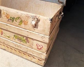 added photo  Hand painted antique trunk