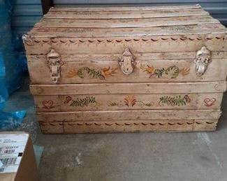 New Price  65.00 Antique hand painted trunk