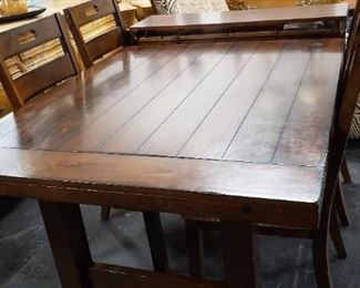 "Vintage Barn wood Style 6'W x 42""W x 30.25""H Dining Room Table with (2) 12"" Leafs and 4 Padded Seat Side Chairs $750"