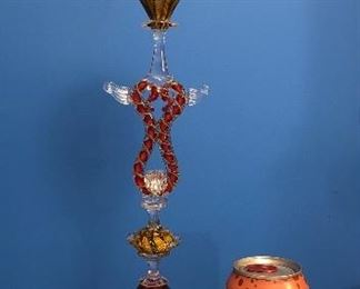 """Zanfirico technique art glass goblet by Charles Savoie, purchased in 2012 from Chicago gallery (16"""" tall, 3.5"""" diameter base)"""