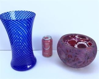 """Blue reticello vase by Mikey Cozza, 11"""" tall, dated 2018, purchased at Vetri Glass; embellished pink bowl with curlicues by Laura Murdoch, 6"""" high, 7.5"""" diameter, purchased at Vancouver Glass Studio in 2017."""