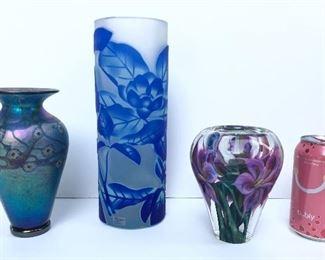 "Vases: 2014 Midnight Blossom 7"" vase by Lindsay Art Glass, newer blue Moser Studio 10"" cylinder vase (Czech), 2010 floral vase by J. Keen (5.5"" tall)"