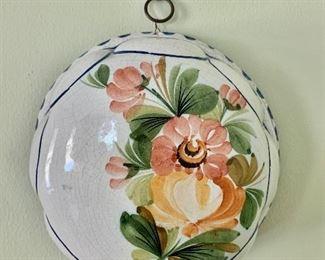 "$30 - Vintage ceramic wall decorative mold with flower motif #1; 7 1/4 Diameter x 3""D."