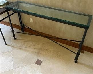 Hand wrought iron entry way table with cut glass top. Over 5ft long