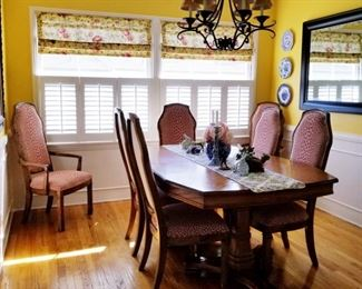 Solid oak dining set  from, custom upholstery from FEDDE'S