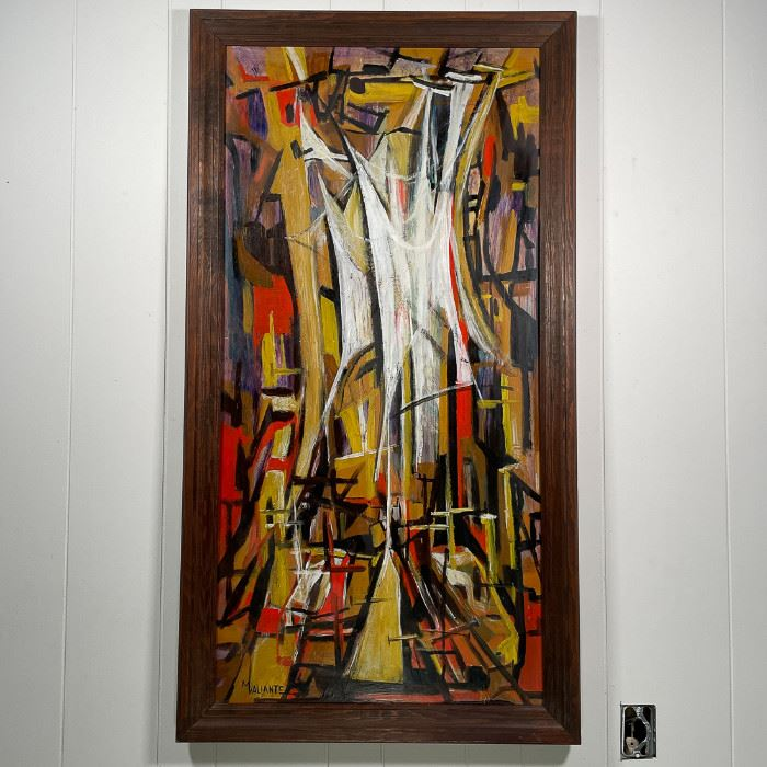 M. VALIANTE (20th Century) | abstract composition, oil on masonite, signed lower left; h. 48 x w. 24 in., h. 52 x w. 28 (framed)
